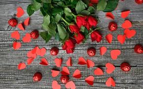 Картинка розы, букет, конфеты, сердечки, wood, roses