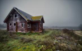 Картинка поле, туман, дом