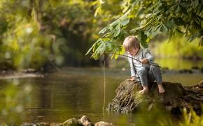 Картинка река, рыбалка, мальчик