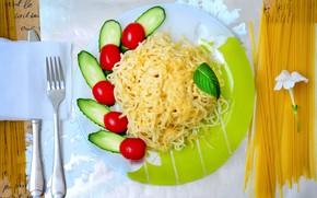 Картинка фото, сыр, тарелка, вилка, помидоры, огурцы, макароны
