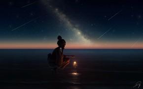 Картинка море, девушка, ночь, бенгальский огонь
