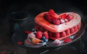 Картинка малина, сердце, торт
