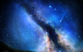 Картинка ночь, звезда, мленый путь