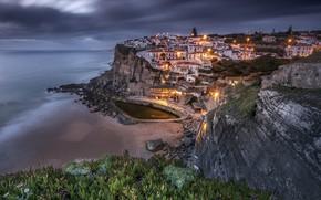 Картинка огни, побережье, вечер, Португалия, Azenhas do Mar, Синтра