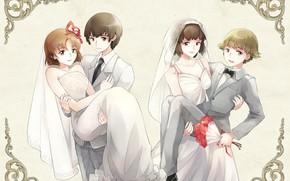 Картинка свадьба, невесты, Mobile Suit Gundam, женихи