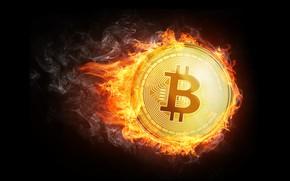 Обои огонь, пламя, дым, fire, монета, fon, coin, bitcoin, биткоин