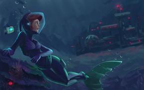 Картинка русалка, арт, ариэль, подводная база