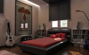 Картинка дизайн, комната, интерьер, спальня, Мужской холостяцкий дом в современном стиле