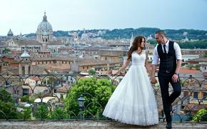 Картинка любовь, город, пара, невеста, свадьба