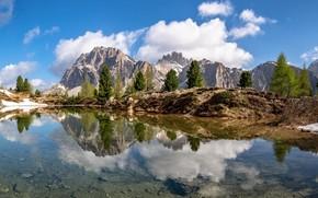 Картинка облака, деревья, горы, озеро, отражение