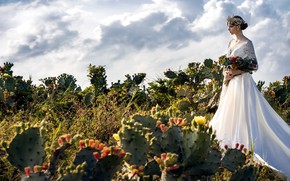Картинка девушка, стиль, модель, букет, кактусы, свадебное платье
