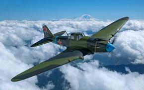 Картинка Облака, Самолет, Вторая Мировая Война, Ил-2, Штурмовик, Ил-2M3, ВВС РККА
