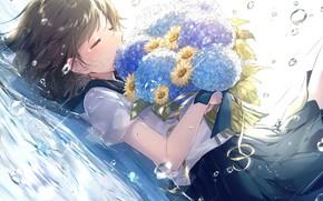 Картинка капли, дождь, ромашки, лужа, школьница, букет цветов, слёзы, на спине, гортензия, закрытые глаза, матроска, lluluchwan