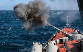Картинка крейсер, артиллерия, стрельбы, маршал устинов
