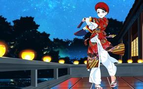 Картинка девушка, аниме, цветастый костюм