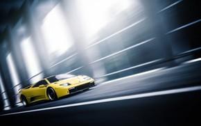 Картинка Авто, Желтый, Lamborghini, Машина, Скорость, Движение, Car, Автомобиль, Art, Золото, Суперкар, Diablo, Vehicles, Sarathonux Kor, …