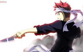 Картинка взгляд, рука, нож, повар, парень, В поисках божественного рецепта, Сома Юкихира, Shokugeki No Soma