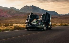 Картинка дорога, горы, чёрный, спорткар, вид спереди, дверцы, McLaren 720S