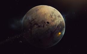 Картинка Звезды, Планета, Космос, Арт, Stars, Space, Art, Planet, Астероиды, Asteroids, Пространство, Jose Mikhail, by Jose ...