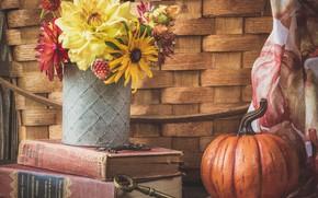 Картинка цветы, книги, букет, текстура, ключ, тыква