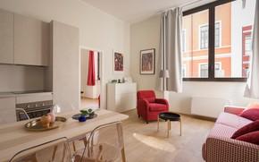 Картинка стол, комната, диван, стулья, кресло, окно, картины, шторы, квартира, тумба