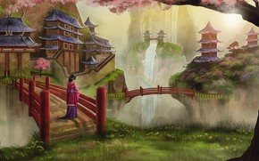 Картинка девушка, пейзаж, китай