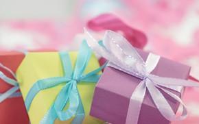 Картинка праздник, коробка, подарок, лента, подарки, бантики, бант, коробки, боке, банты
