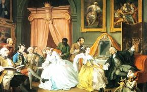 Картинка картина, жанровая, Уильям Хогарт, William Hogarth, Модный Брак. Будуар Графини