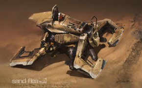 Картинка песок, пустыня, пилот, аппарат, sandFlea