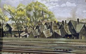 Картинка 1933, Charles Ephraim Burchfield, Railroad in Spring