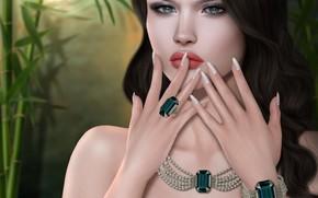 Картинка девушка, украшения, лицо, руки, брюнетка