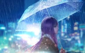 Картинка девушка, город, дождь, улица, зонт