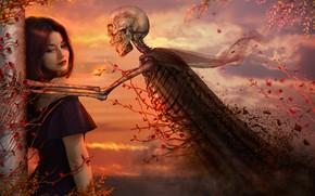 Картинка девушка, закат, скелет, плющ