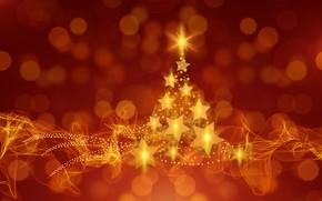 Картинка звезда, ель, огоньки, Новый Год, Рождество