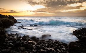 Картинка море, закат, берег, Hawaii