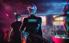 Обои Девушка, Музыка, Фон, Клуб, Club, Cyber, Cyberpunk, Synth, Retrowave, Synthwave, New Retro Wave, Futuresynth, Синтвейв, ...