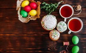 Картинка праздник, чай, яйца, пасха, куличи