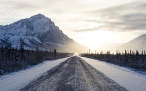 Картинка дорога, небо, облака, снег, горы, рассвет