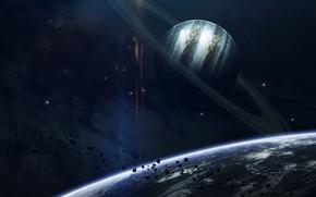 Картинка Звезды, Планета, Космос, Планеты, Planets, Кольцо, Арт, Stars, Space, Блик, Art, Кольца, Planet, Rings, Астероиды, …