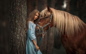 Картинка взгляд, дерево, конь, лошадь, платье, грива, девочка