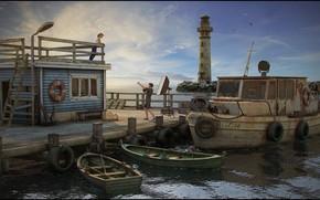 Картинка маяк, лодки, катер, шины, Pier