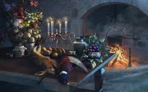 Картинка цветы, стол, заяц, букет, свечи, камин, живопись, чеснок, фазан