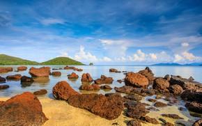 Картинка песок, море, волны, пляж, лето, небо, камни, summer, beach, sea, blue, seascape, sand, stones, wave