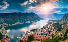 Картинка море, солнце, горы, дома, панорама, лайнер, Черногория, Котор