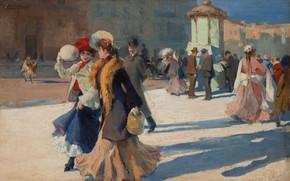 Картинка Spanish painter, испанский живописец, oil on canvas, Прогулка по улицам Парижа, Рикардо де Виллодас де …