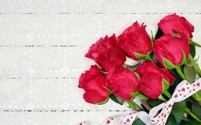 Картинка цветы, розы, букет, лента, красные, red, love, wood, flowers, beautiful, romantic, roses