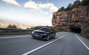 Картинка дорога, синий, скала, Audi, тоннель, седан, Audi A8, Audi S8, 2020, 2019, V8 Biturbo