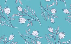 Картинка цветы, фон, белые, бесшовный