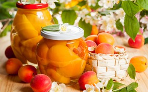 Картинка банки, абрикосы, жасмин