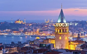 Картинка evening, turkey, istanbul, galata tower